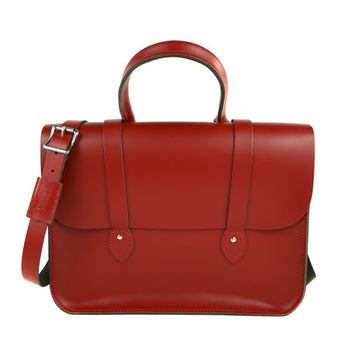 【The Leather Satchel Co.】英國原裝手工牛皮音樂包 肩背 側背手提包 (心機紅)
