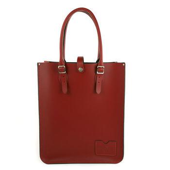 【The Leather Satchel Co.】英國原裝手工牛皮托特包 手提包 肩背包 (心機紅)