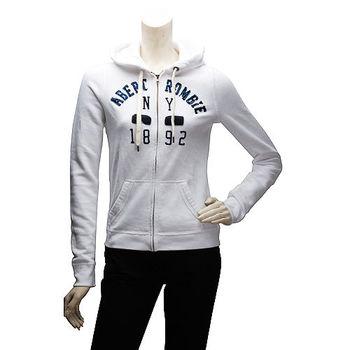 Abercrombie  Fitch 字母X方塊內刷毛拉鍊帽T外套(女-白)
