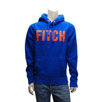 Abercrombie  Fitch 螢光橘字母內刷毛長袖連帽TEE(男-寶藍)
