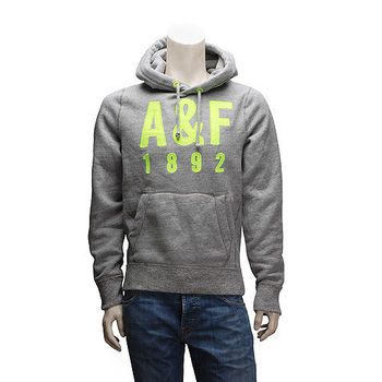 Abercrombie  Fitch 螢光黃AF內刷毛長袖連帽TEE(男-灰)