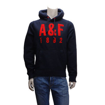 Abercrombie  Fitch 搶眼配色AF內刷毛長袖連帽TEE(男-深藍-L)