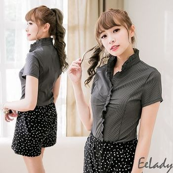 【EE-LADY】荷葉領短袖條紋襯衫(34-42)-黑細條紋
