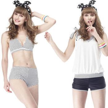 【SARBIS】MIT大女比基尼四件式泳裝 (附泳帽) 加贈短襪x1雙 B94205