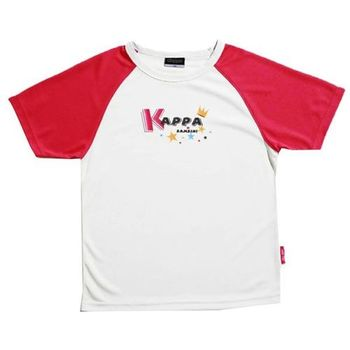 KAPPA義大利小朋友吸濕排汗速乾彩色圓領衫 白 櫻桃紅-GA91-A008-61