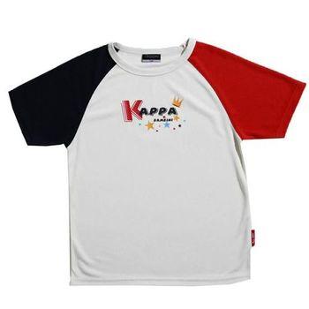 KAPPA義大利小朋友吸濕排汗速乾彩色圓領衫 白 丈青紅-GA91-A008-63