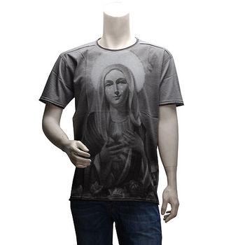 DOLCE  GABBANA DG 聖母圖案圓領短袖T恤(灰色)