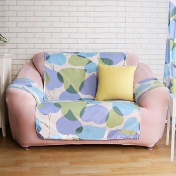 【HomeBeauty】舒柔涼感輕便沙發保潔墊-2人座(桃心葉)