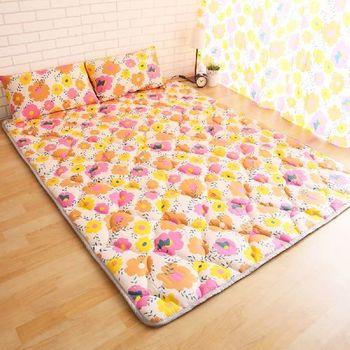【契斯特】 可愛涼感日式收納床墊-加大(太陽花)
