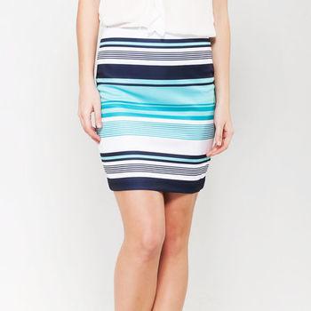 IFOREST 優雅配色條紋窄裙(藍條) 15075