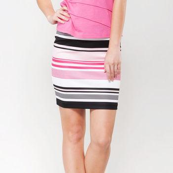 IFOREST 優雅配色條紋窄裙(粉條) 15075
