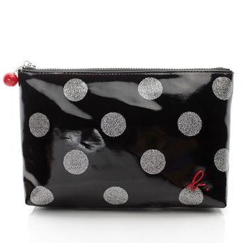 agnes b. 霧面點點PVC防水材質化妝包(黑色/大款)