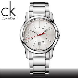 【瑞士 CK手錶 Calvin Klein】紅秒針經典款石英男錶(K0A21126 白面)