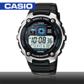 【CASIO 卡西歐】模擬指針數位電子運動錶(AE-2000W)