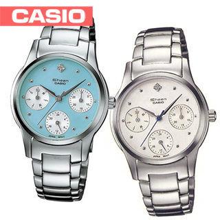 【CASIO 卡西歐 SHEEN系列】日系簡約時尚三眼造型女錶(SHN-3000D)