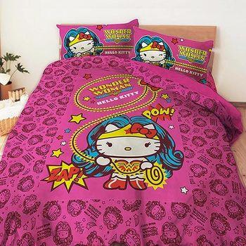 【享夢城堡】HELLO KITTY 神力女超人系列-雙人床包涼被組(紅)
