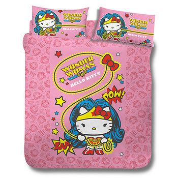 【享夢城堡】HELLO KITTY 神力女超人系列-雙人床包涼被組(粉)