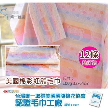 【台灣興隆毛巾製】美國棉彩虹熊毛巾(12條 整打)