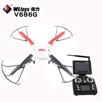 WL六軸陀螺儀Wi-Fi圖傳空拍飛行機V686G(FPV屏)