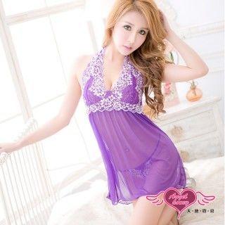 天使霓裳 奢華迷誘 性感蕾絲加大尺碼連身睡衣(紫)-CX17