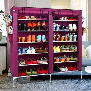 超大雙排加寬12格簡易DIY防塵鞋櫃組合鞋櫃鞋架 十入組