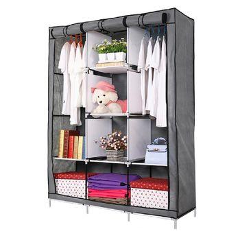 超大三排加寬加高8格簡易DIY防塵衣櫃 組合衣櫃 八入組