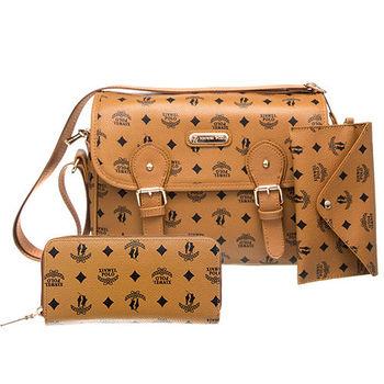 【XINWEI POLO】奢華LOGO風側背包附零錢包+皮夾(723)-棕色