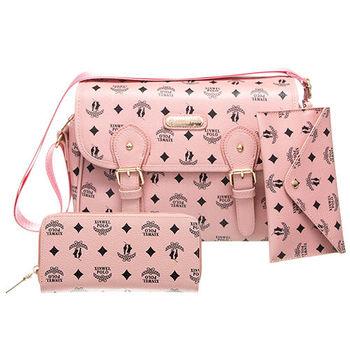 【XINWEI POLO】奢華LOGO風側背包附零錢包+皮夾(723)-粉色