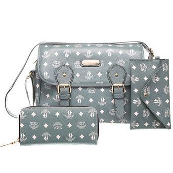 【XINWEI POLO】奢華LOGO風側背包附零錢包+皮夾(723)-灰綠色