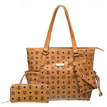 【XINWEI POLO】奢華LOGO風雙側口袋抽繩包附零錢包+皮夾(8129)-棕色