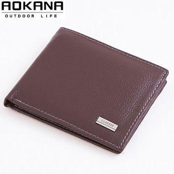 【AOKANA奧卡納】真皮系列 男仕短夾 皮夾(咖啡021)