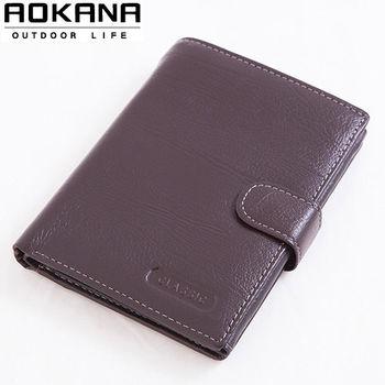 【AOKANA奧卡納】真皮系列 男仕中夾 皮夾 護照夾(咖啡025)