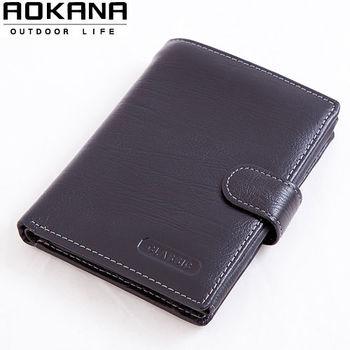 【AOKANA奧卡納】真皮系列 男仕中夾 皮夾 護照夾(黑色026)