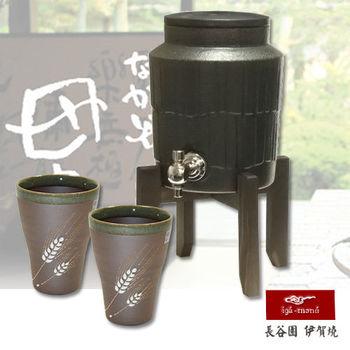 【日本長谷園伊賀燒】遠紅外線負離子陶水壺(黑)