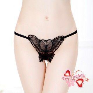 【性感小蜜桃】魅惑蝴蝶-刺繡蝴蝶美臀丁字褲-精緻黑(SA2012)
