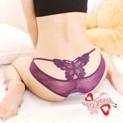 果漾微甜-刺繡蝴蝶美臀內褲-迷惑紫(SA2014東森購物影片)