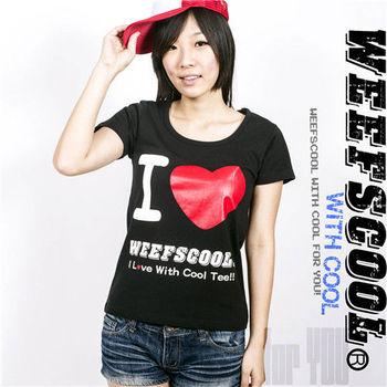 【WEEFSCOOL】MIT 基本款潮流文字T I love Weefscool 黑色 (女)