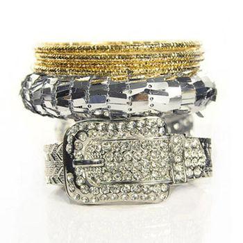 太妃糖 華麗錶帶古董多層次手環(銀)