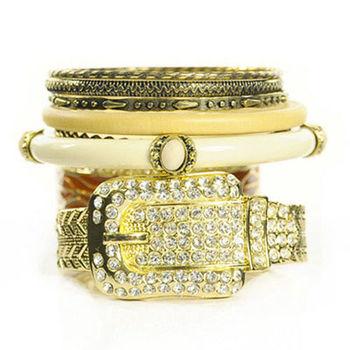 太妃糖 華麗錶帶古董多層次手環(金)