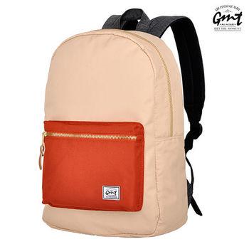【GMT挪威潮流品牌】撞色後背包 米色,附15吋筆電夾層;旅遊包/登山包/雙肩背包/電腦包