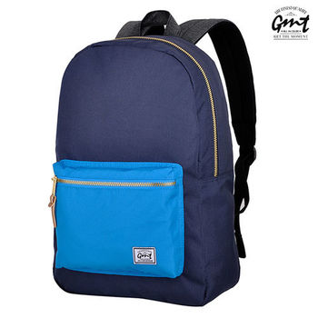 【GMT挪威潮流品牌】撞色後背包 深藍,附15吋筆電夾層;旅遊包/登山包/雙肩背包/電腦包