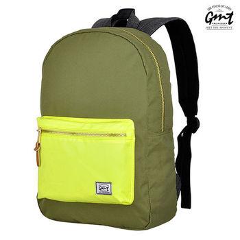 【GMT挪威潮流品牌】撞色後背包 軍綠,附15吋筆電夾層;旅遊包/登山包/雙肩背包/電腦包