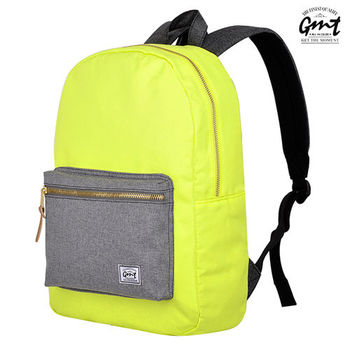 【GMT挪威潮流品牌】撞色後背包 黃, 附15吋筆電夾層;旅遊包/登山包/雙肩背包/電腦包