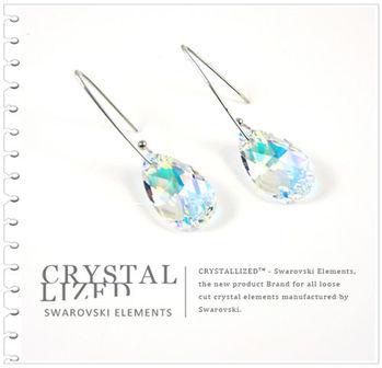 新光飾品-七彩佳麗水滴形水晶耳環
