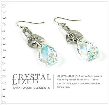 新光飾品-七彩佳人含情水滴形水晶耳環