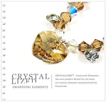 新光飾品-金色魅影潮流桃心形水晶項鏈