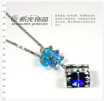 新光飾品-藍色妖姬愛情魔方水晶項鏈
