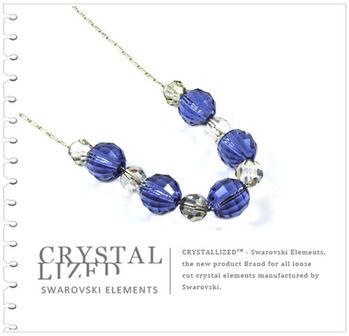 新光飾品-藍色魅影潮流圓珠水晶項鏈