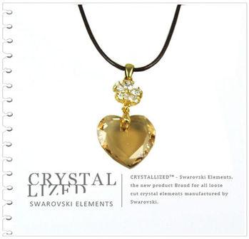 新光飾品-黃色魅影韓版愛心水晶項鏈