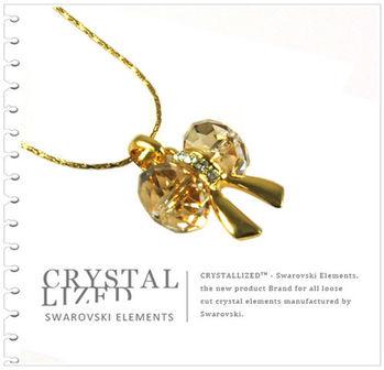 新光飾品-黃色魅影韓版蝴蝶結水晶項鏈